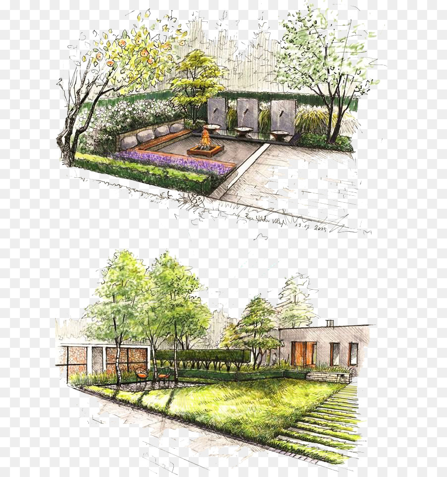 Landscape design Landscaping Garden - Hand colored ...