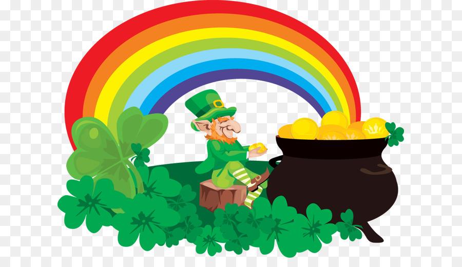 rainbow pot of gold leprechaun saint patricks day clip art rainbow