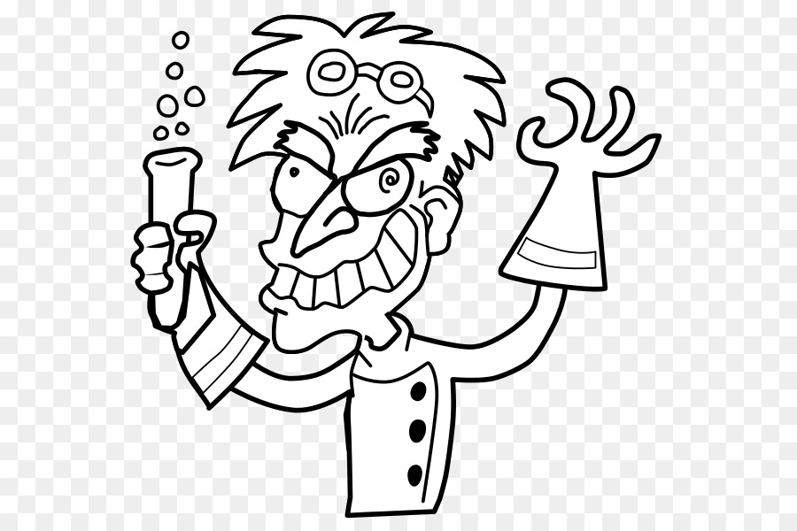 Mad Scientist Black And White Science Clip Art