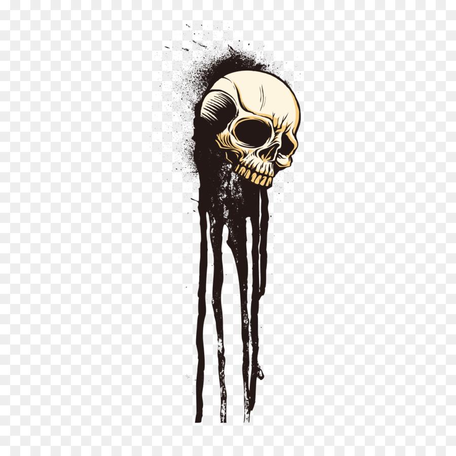 T-shirt Cráneo Dibujo de Tinta Esqueleto - Tinta craneal diagrama de ...