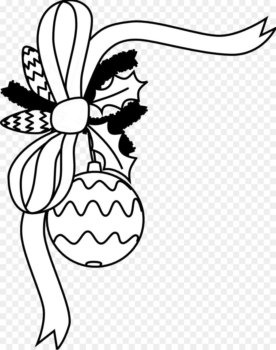 Santa Claus Christmas Ornament Black And White Clip Art