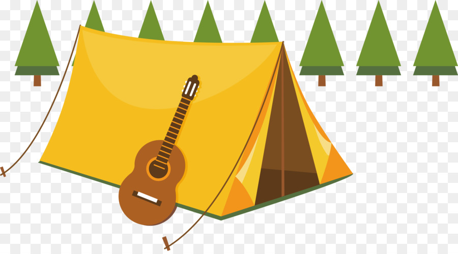 Camping Summer Camp Tent Illustration Violin Decoration