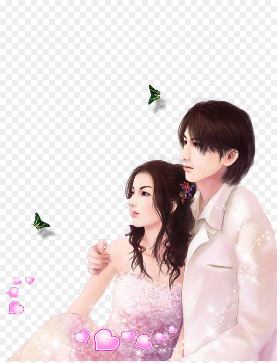 Love Romance Mobile Phone Wallpaper Cartoon Couple Png Download