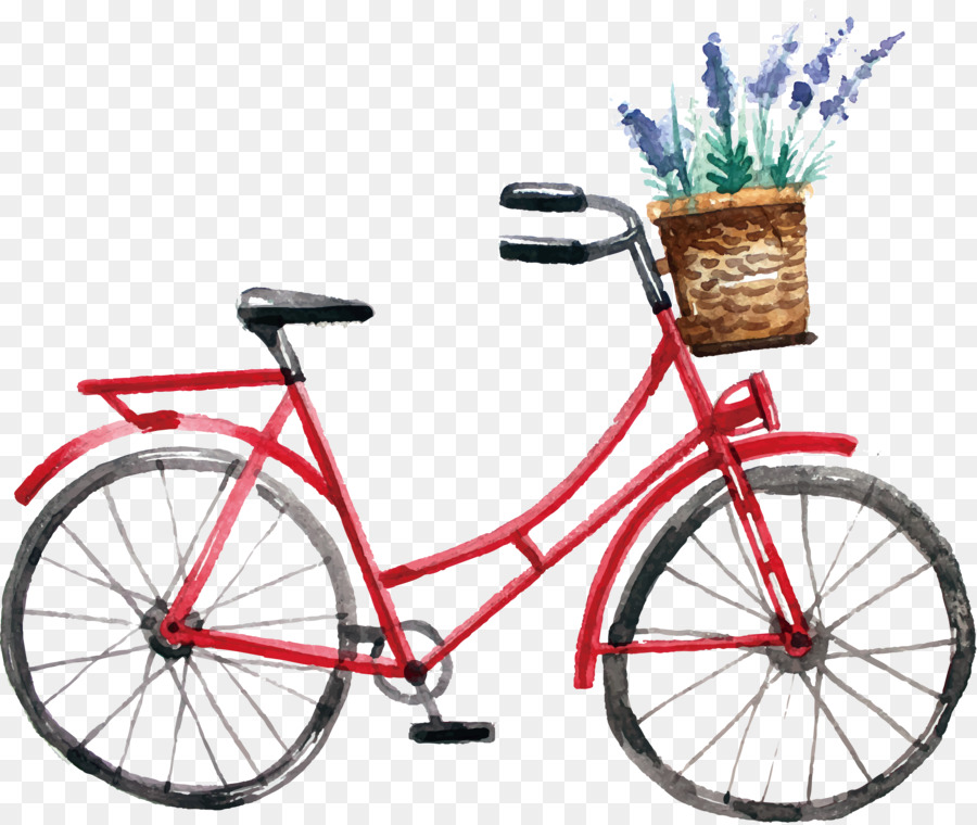 Bicycle Watercolor painting Cycling - Watercolor bike design png ...