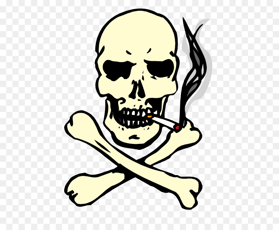 Skull of a Skeleton with Burning Cigarette Smoking Clip art ...
