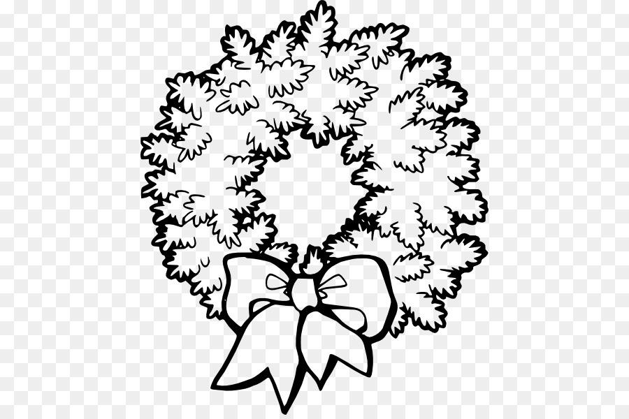 Christmas Wreath Black And White Clip Art