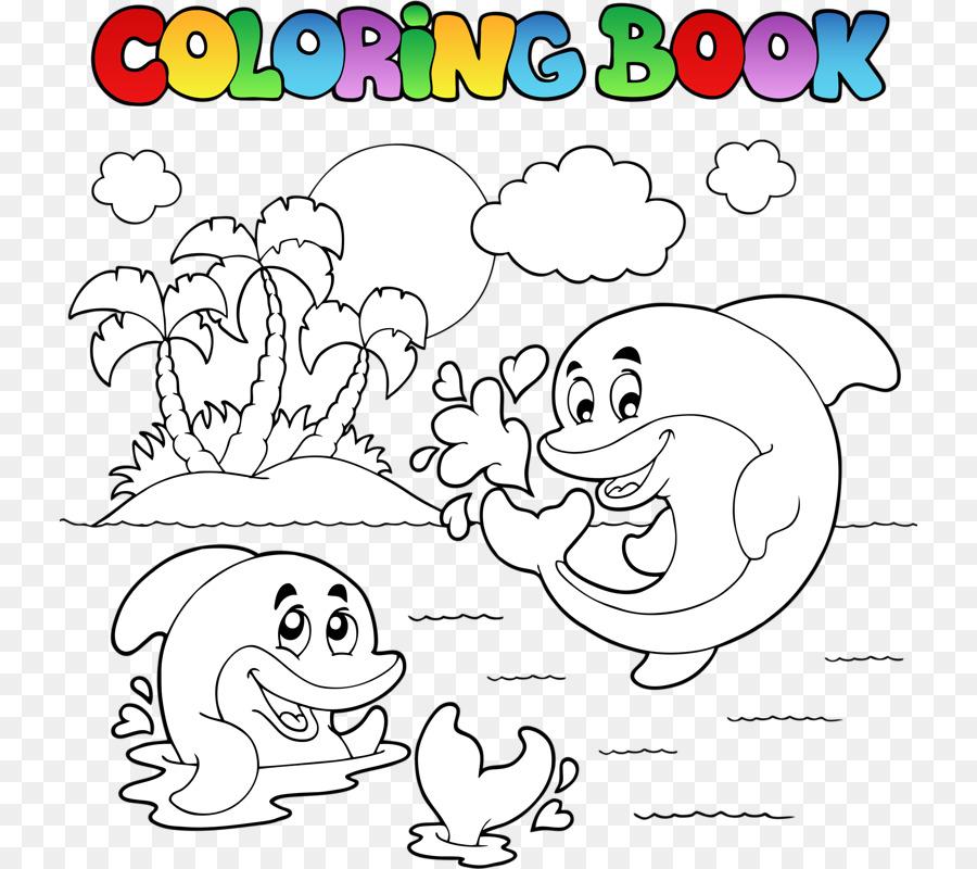 Libro para colorear, libre de Regalías Ilustración - Delfín fotos ...