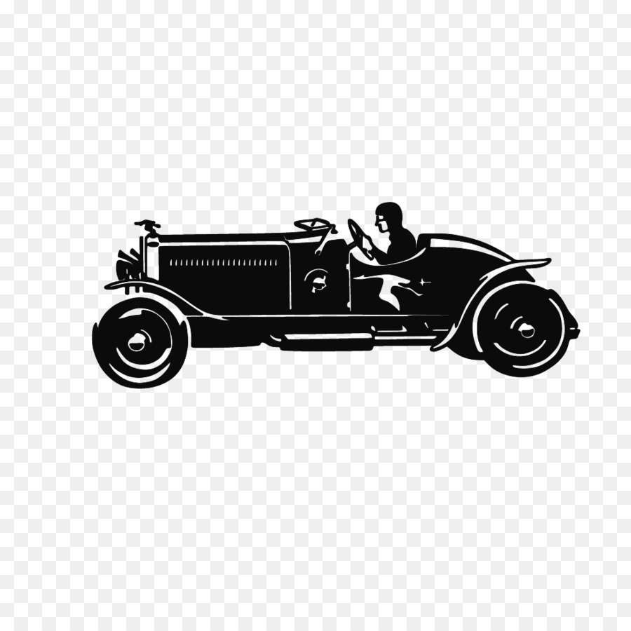 Vintage car Jeep Silhouette - Vector drawing retro convertible ...
