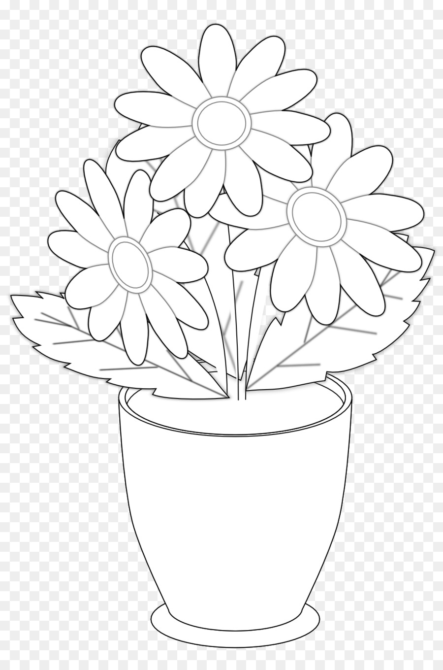 Drawing Vase Flower Black and white Clip art - Flower Vases With ...