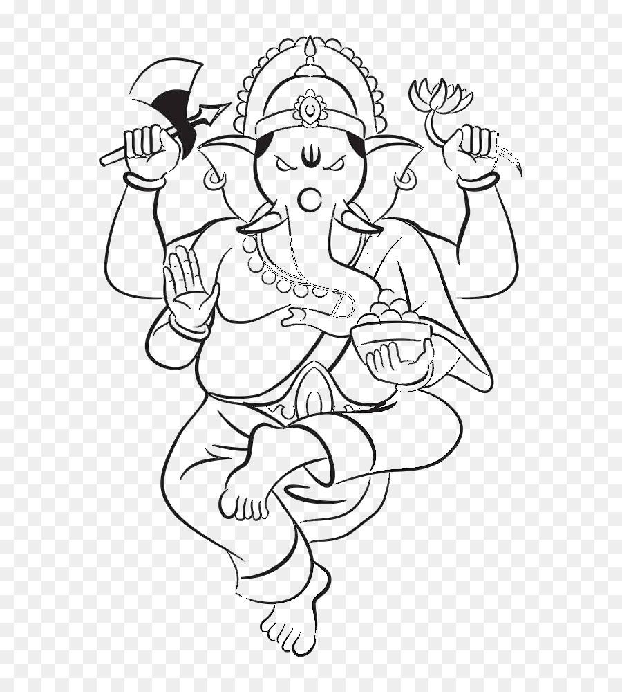 Krishna Ganesha, La Deidad De La Ilustración - En blanco y negro de ...