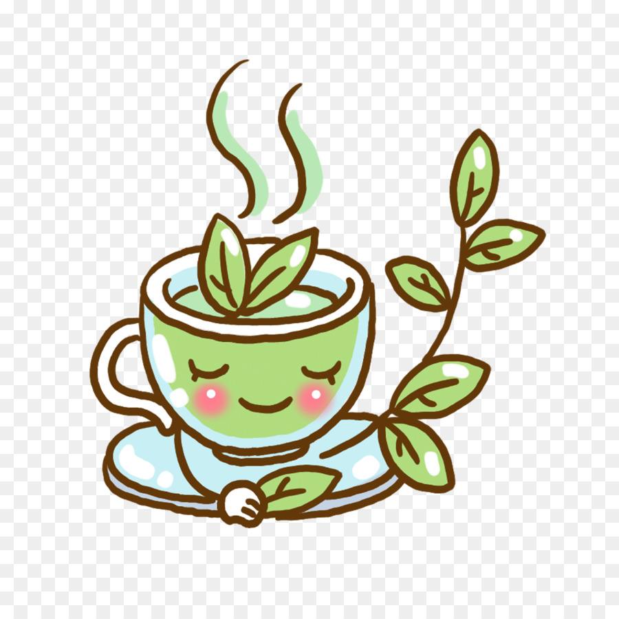 green tea coffee cartoon illustration hand painted green tea