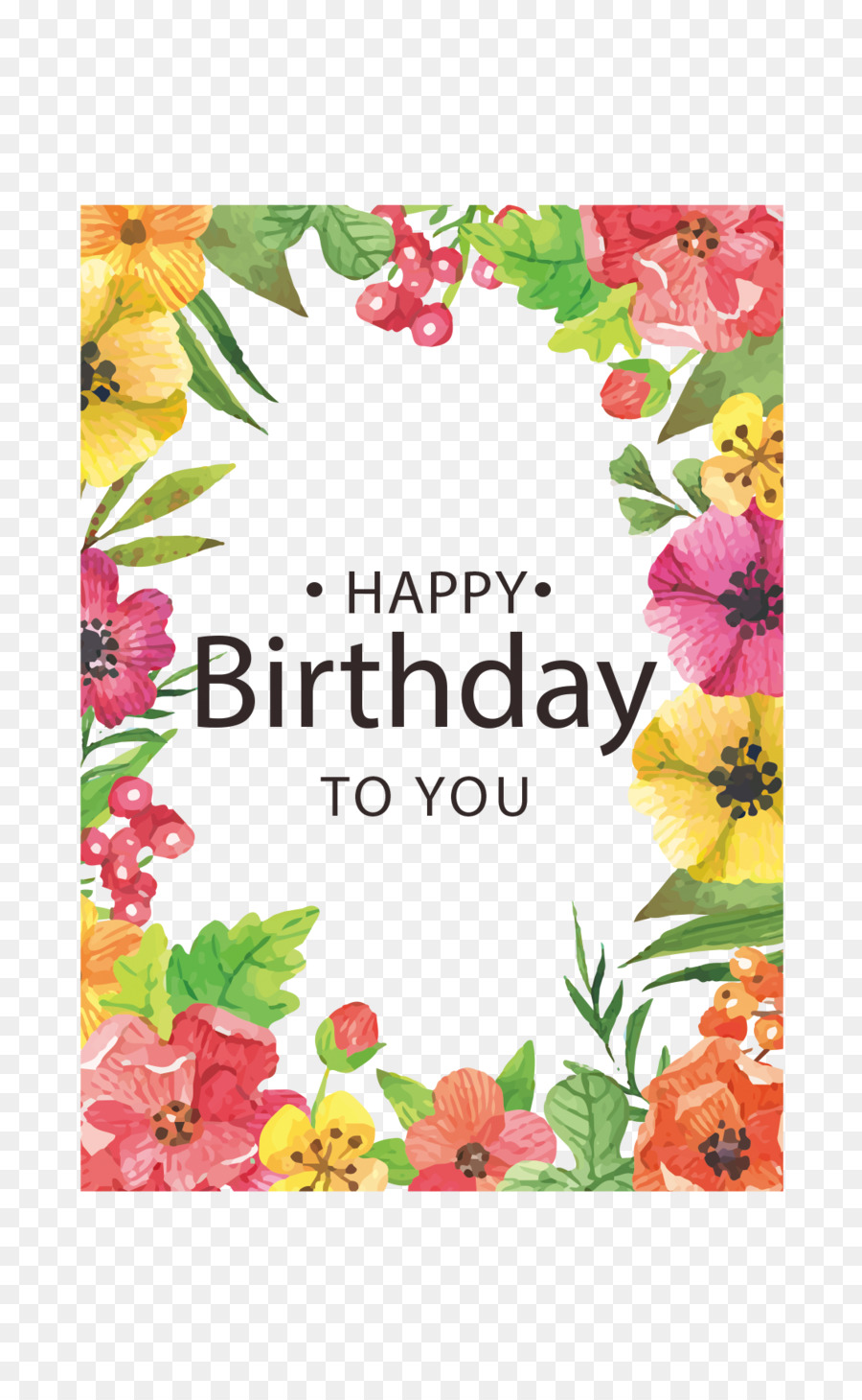 birthday greeting card clip art happy birthday birthday card colored flowers - Happy Birthday Cards Flowers