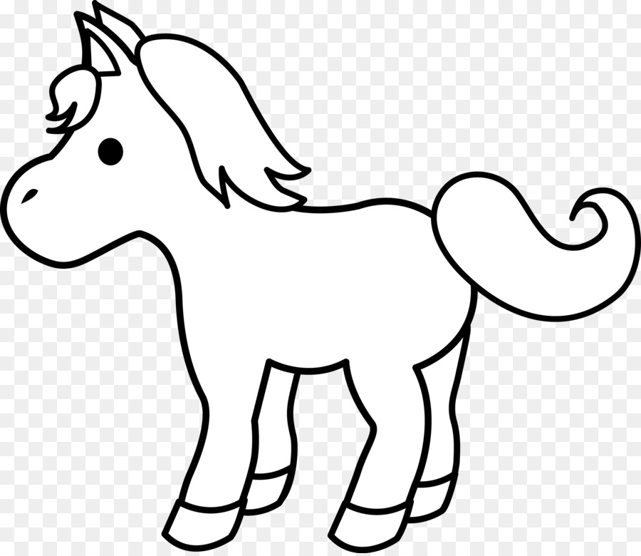 Horse Pony Foal Black And White Clip Art   Baby Horse Clipart