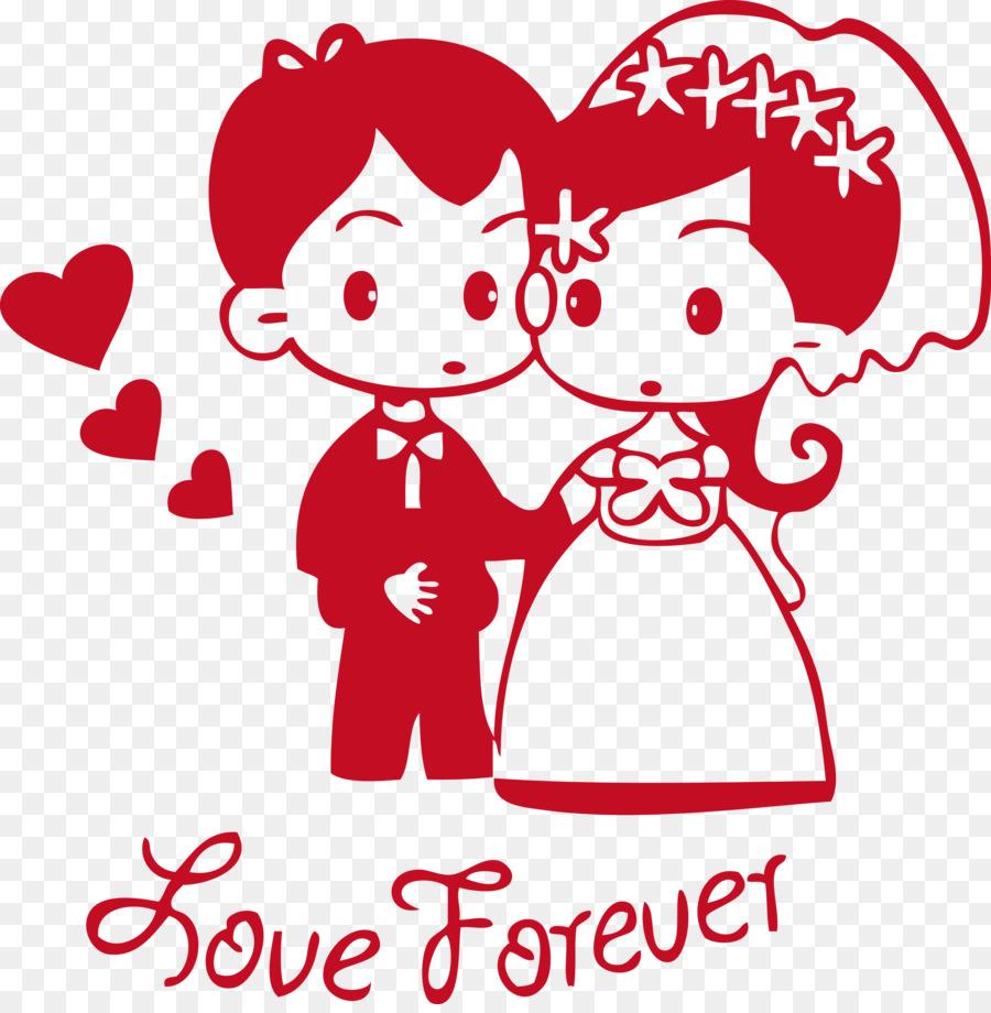 Wedding invitation Sticker Wall decal - The bride and groom wedding ...
