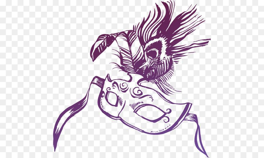 Maske Top Poster El Boyaması Mor Maske Vektör Png Indir 538540