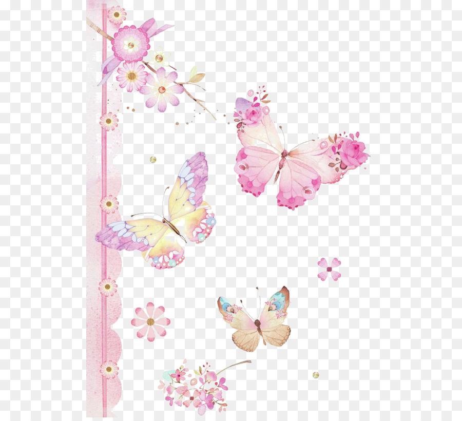 Casa Delle Farfalle Caterpillar Clip Art Dipinte A Mano Rosa