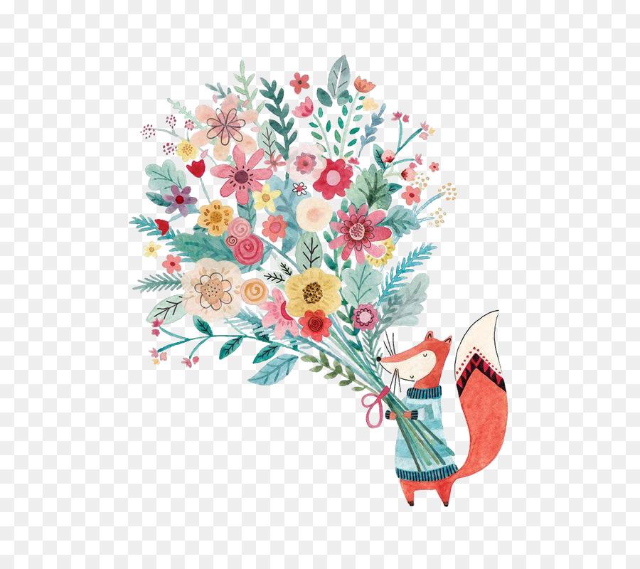 Greeting card illustrator birthday christmas illustration fox greeting card illustrator birthday christmas illustration fox holding flower m4hsunfo