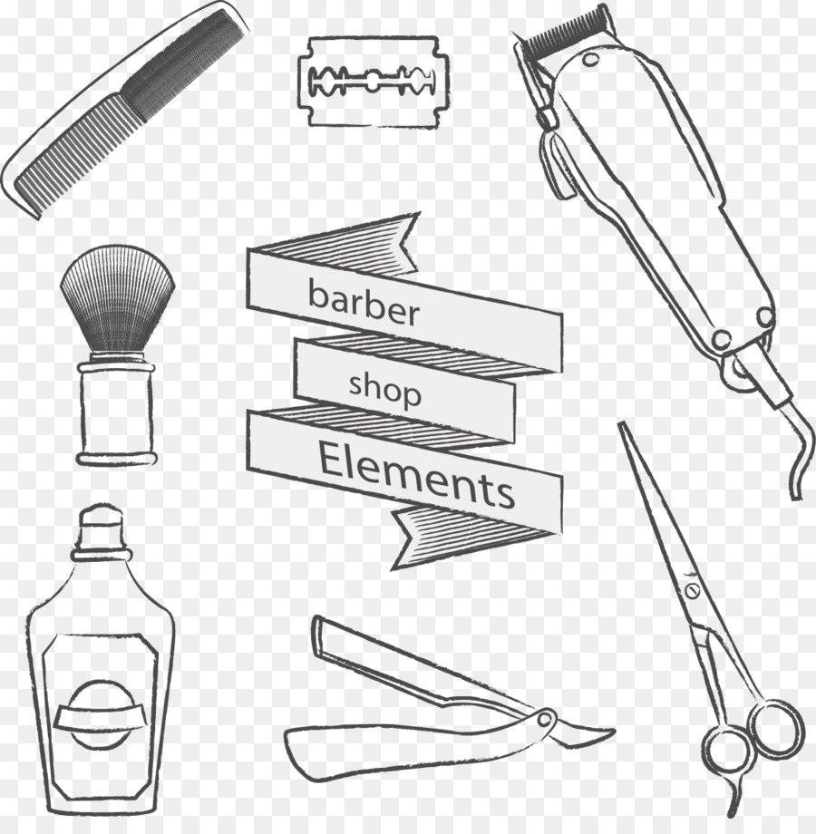 Barber Hairdresser Hair Care Vector Painted Hairdressing Supplies