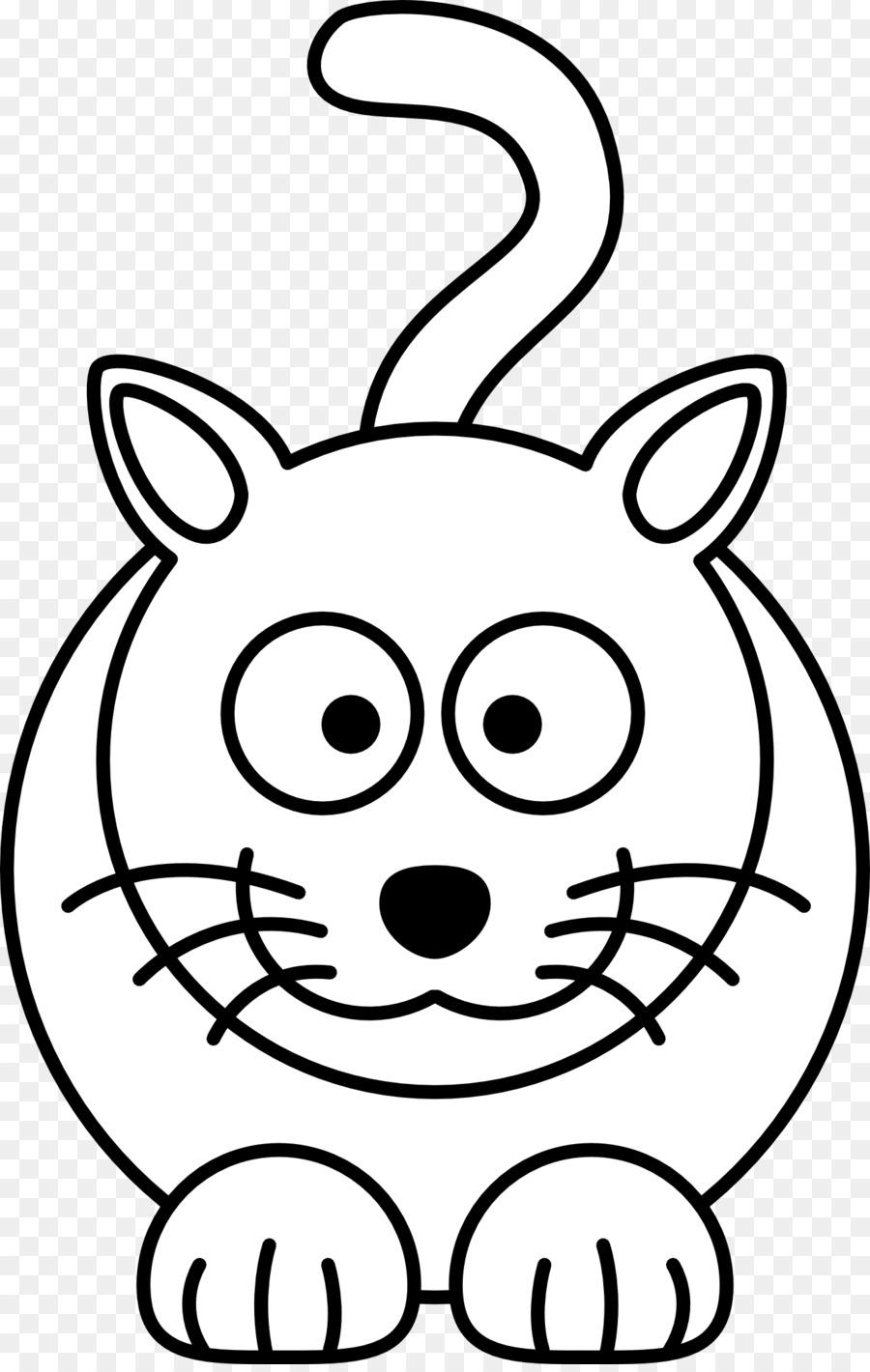 Cat Kitten Black And White Cartoon Clip Art Bib Cliparts Png