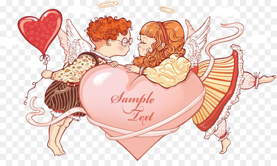 Kartun Ciuman Dua Malaikat Kecil Hendak Mencium Unduh Pink
