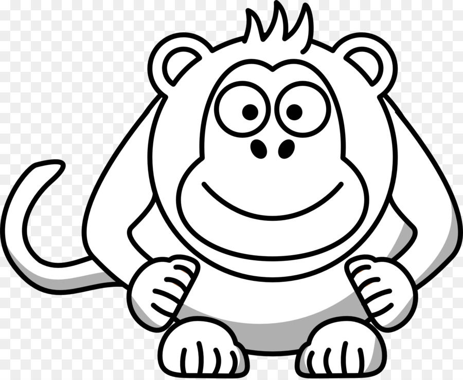 baboons monkey black and white drawing clip art white cartoon rh kisspng com monkey black white clipart realistic monkey clip art black and white