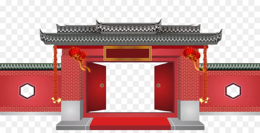 download gratis ancient chinese wind gate entrance png download