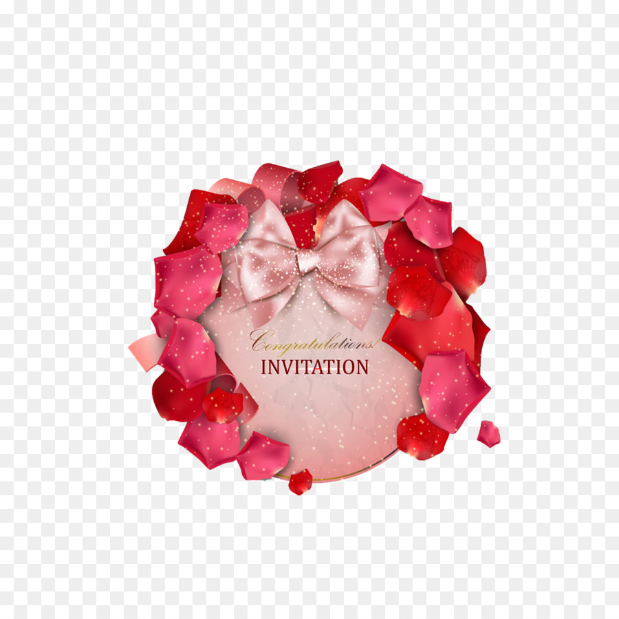 Wedding invitation Love Convite Romance - Petals Bow Invitation Card ...