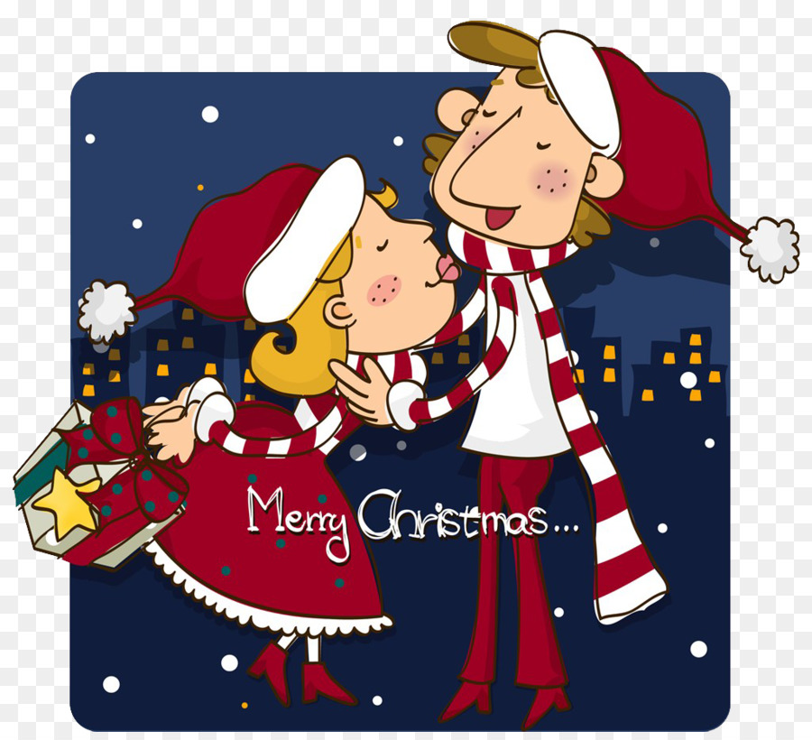 Christmas Significant other Cartoon Illustration - Christmas kissing ...