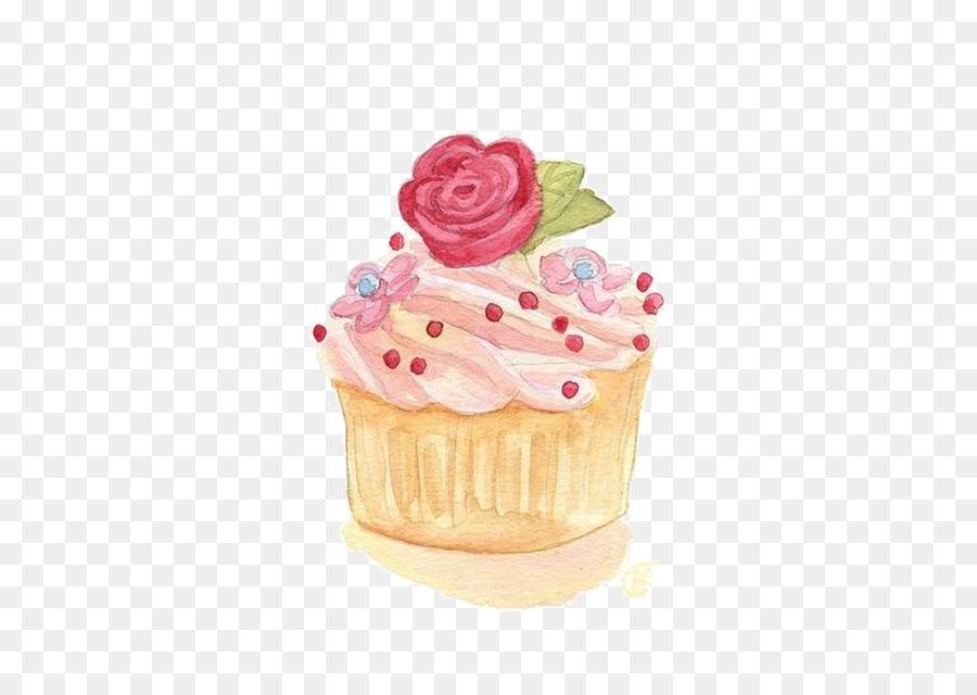 Cupcake Watercolor Painting Illustration Rose Cake Png