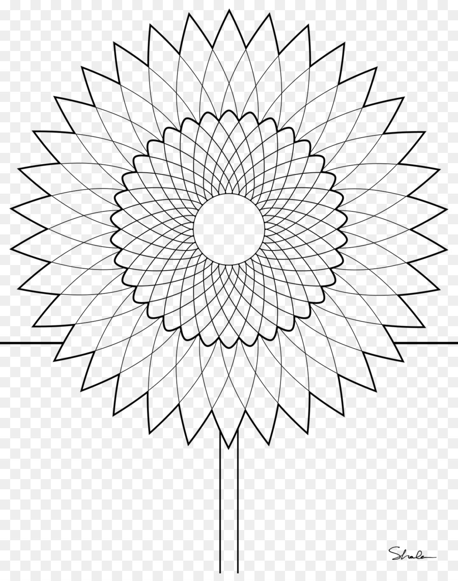 Drawing Black and white Flowerpot Clip art - Sunflower Coloring Page ...