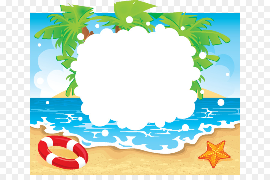Beach Summer vacation Clip art - Beach seaside swimming border png ...
