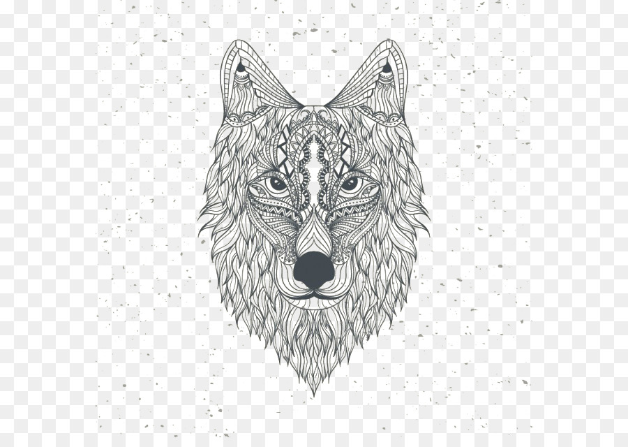 Gray Wolf Coloring Book Drawing Mandala Euclidean Vector