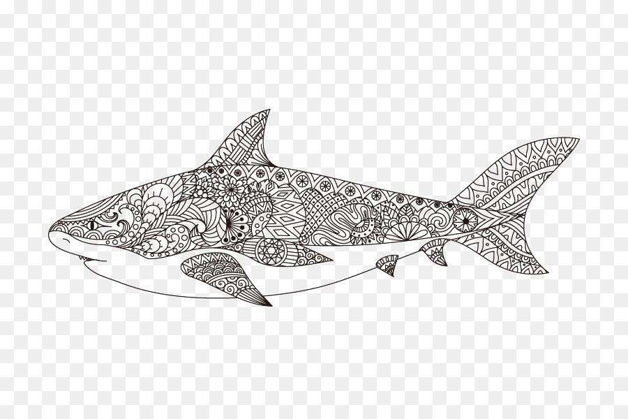 Köpekbalığı Boyama Kitap Hat Sanatı Mandala çizim Köpekbalığı