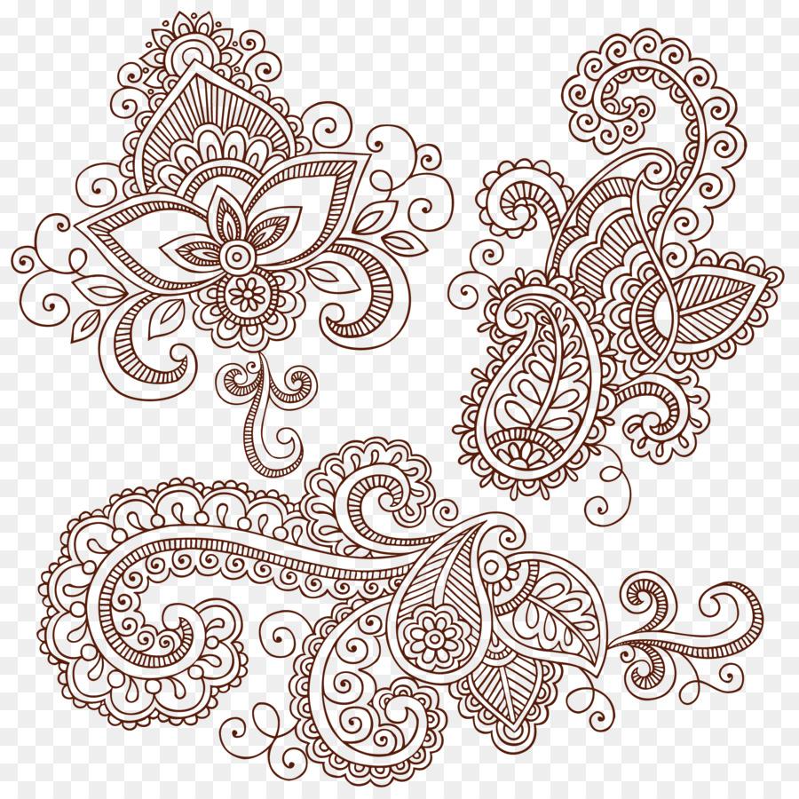 Paisley Mehndi Mandala Zeichnen Mode Schinken Muster