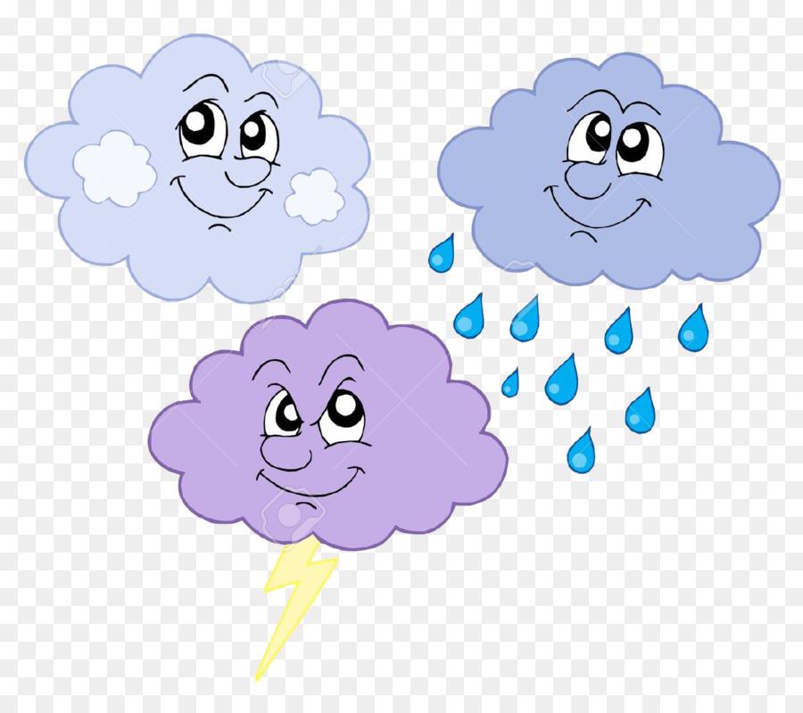 Awan Hujan Badai Clip Art Tangan Dicat Cuaca Unduh Biru Bunga