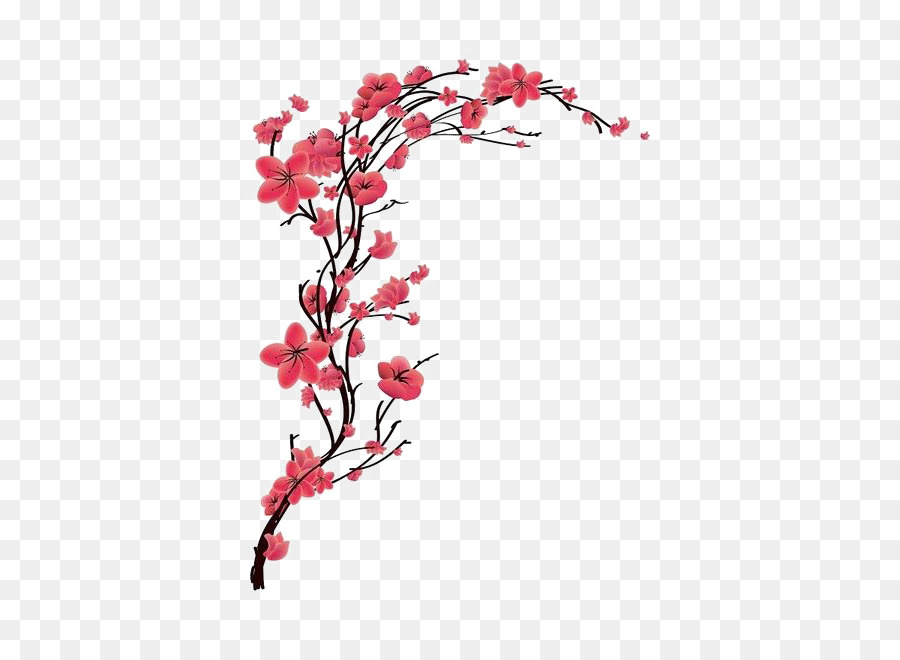 Cherry Blossom Tattoo Red Peach 508 650 Transprent Png