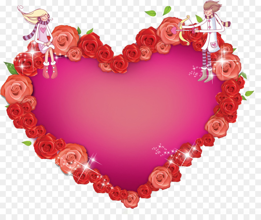Heart Valentines Day - Rose heart shaped photo frame png download ...
