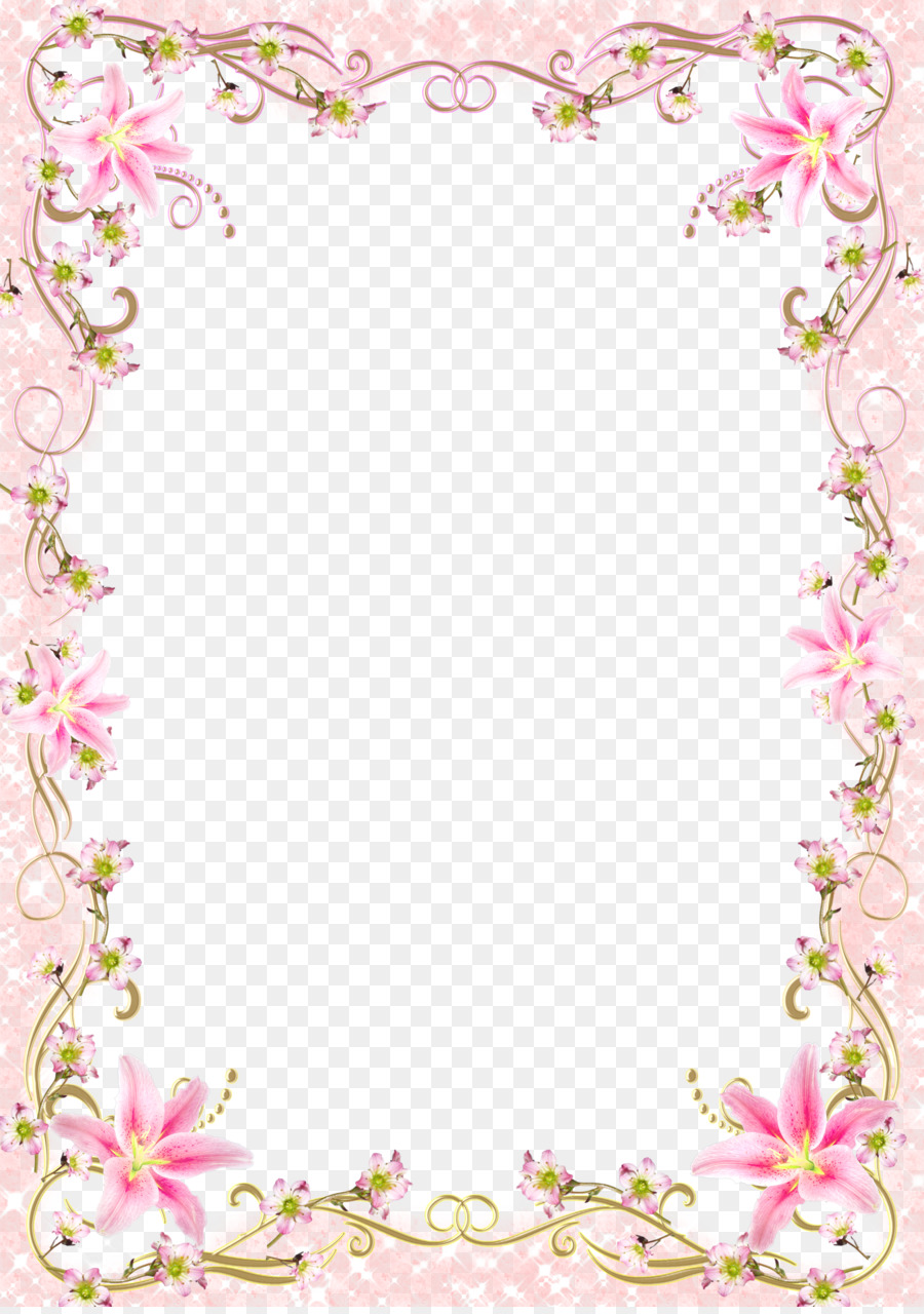 Picture Frame Template Fl Border Pink Line Png 3770 5332 Free Transpa