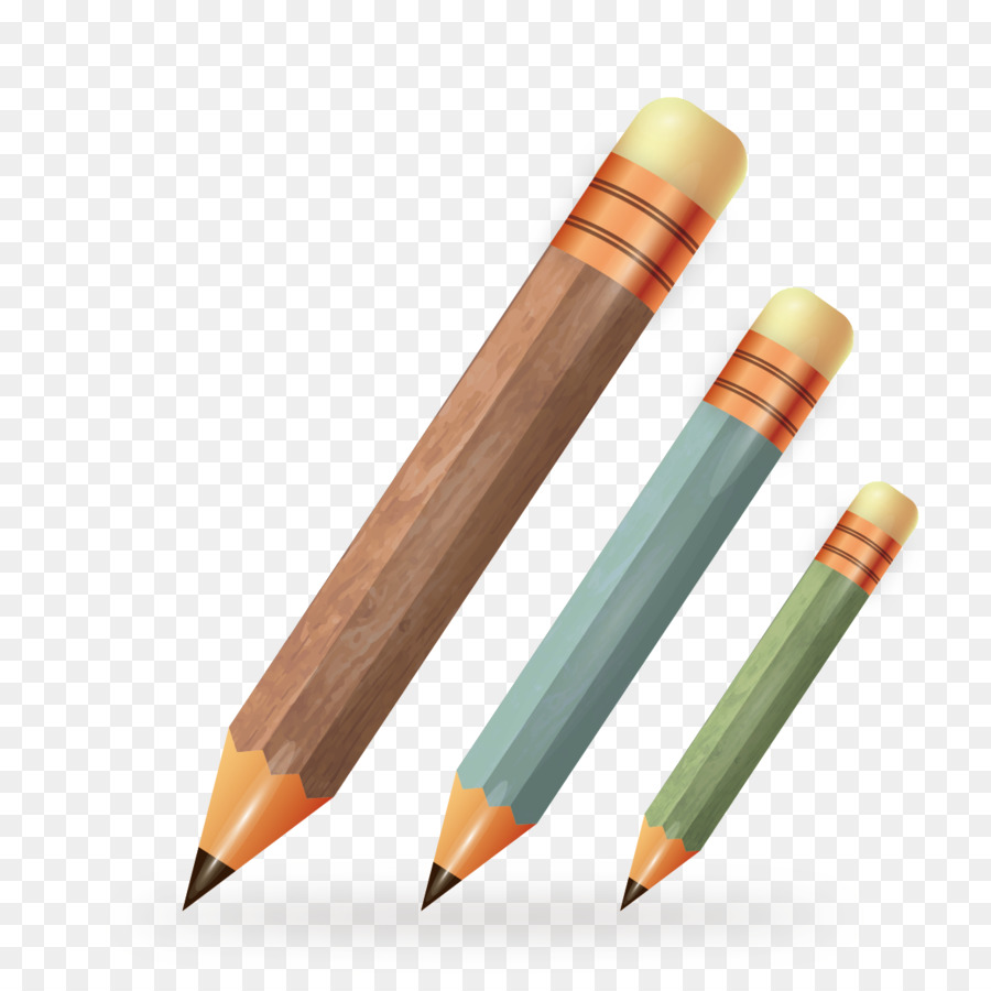 Colored pencil drawing eraser vector pen
