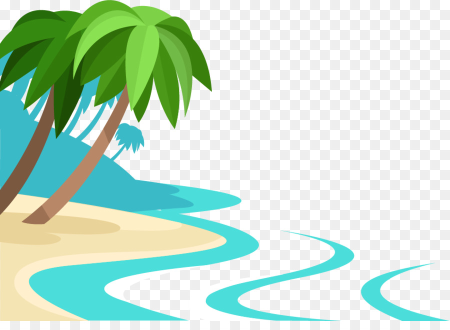 Sandy Beach Summer Vector Cartoon Beach Png Download
