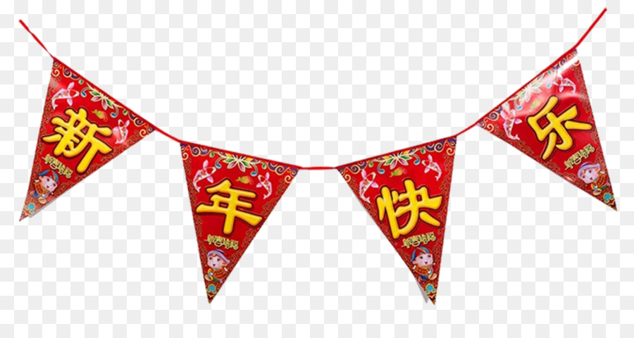 paper chinese new year flag fu happy new year banners triangle png
