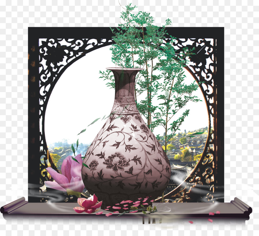 Red Wine Alcoholic Drink Poetry Porcelain Classical Vase Png