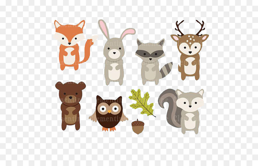 Paper Woodland Animal Clip art - Deer, bear and owl leaves ...