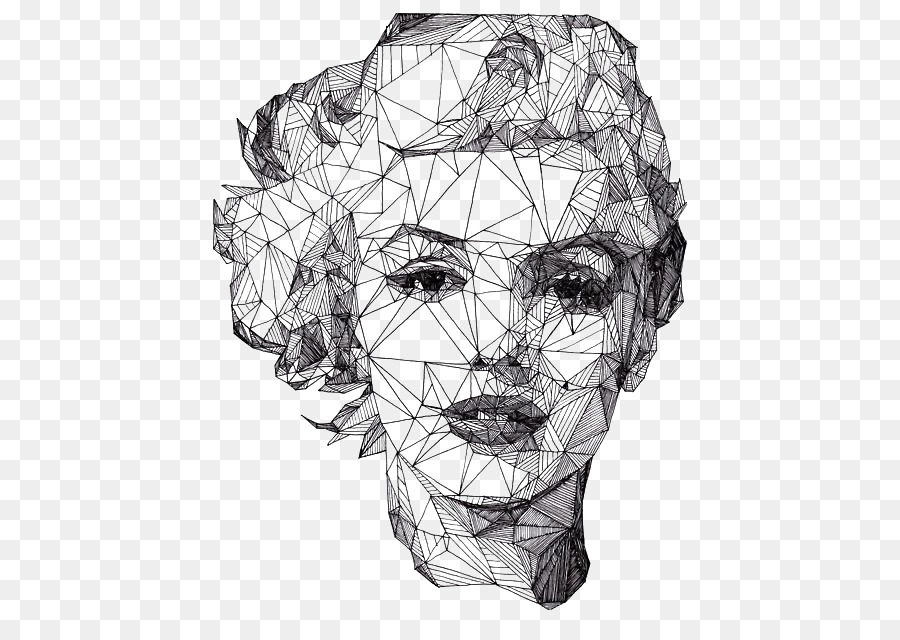 Portrait drawing geometry artist illustration diamond womans face