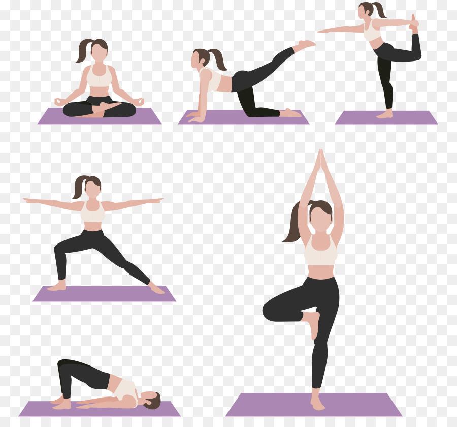 Yoga Cartoon Plakat Mehrere Fitness Cartoon Zeichen Png