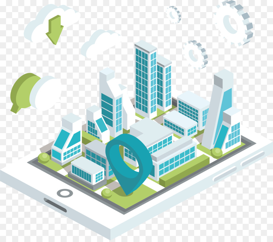 Cloud puting Euclidean vector Microsoft Azure    Isometric    projection Email  Smart city on