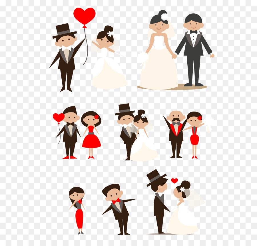 Hochzeit Cartoon Paar Clip Art Hand Gezeichnet Cartoon Braut Und