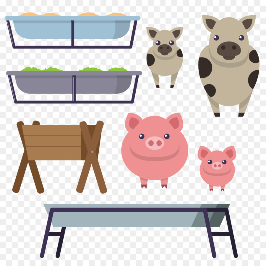 Domestic Pig Cattle Manger Clip Art   Vector Pigs