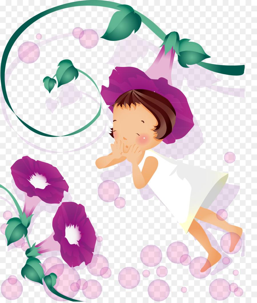 Cartoon Illustration Beautiful Flower Fairy Png Download 1618