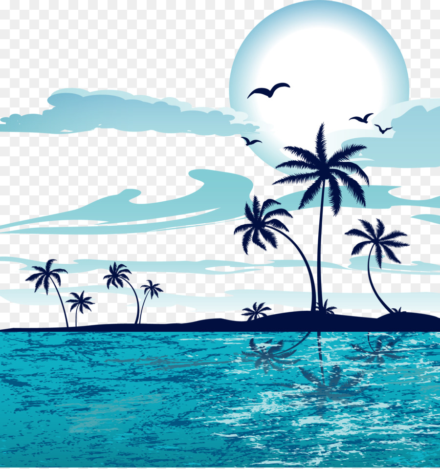 sandy beach vector cartoon sea sunset png download 1857 1974